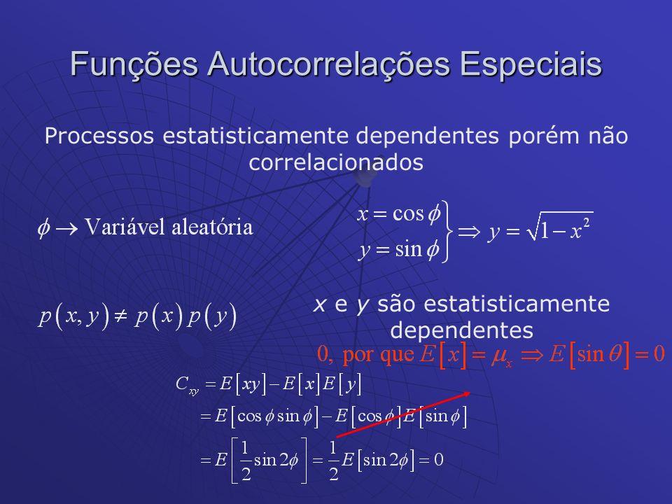 Processos estatisticamente dependentes porém não correlacionados Funções Autocorrelações Especiais x e y são estatisticamente dependentes