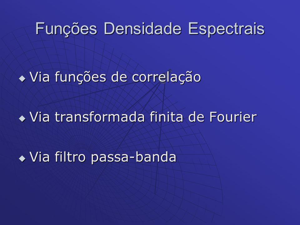 Funções Densidade Espectrais Via funções de correlação Via funções de correlação Via transformada finita de Fourier Via transformada finita de Fourier