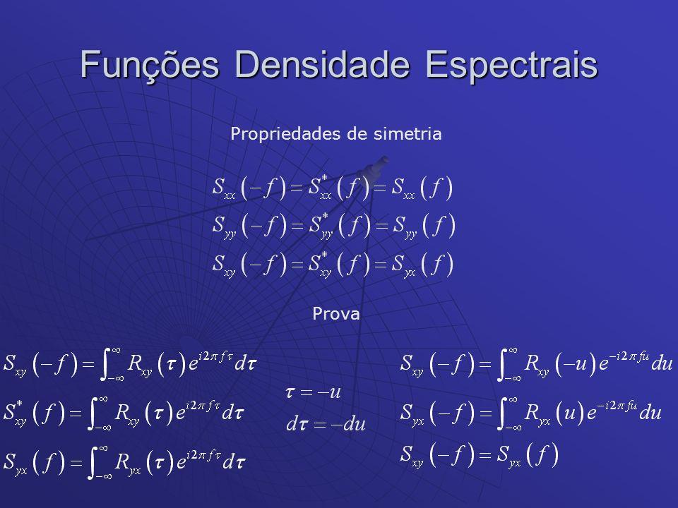 Funções Densidade Espectrais Propriedades de simetria Prova