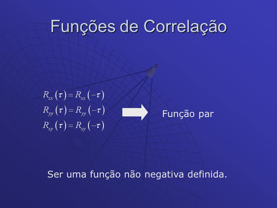 Função par Ser uma função não negativa definida.