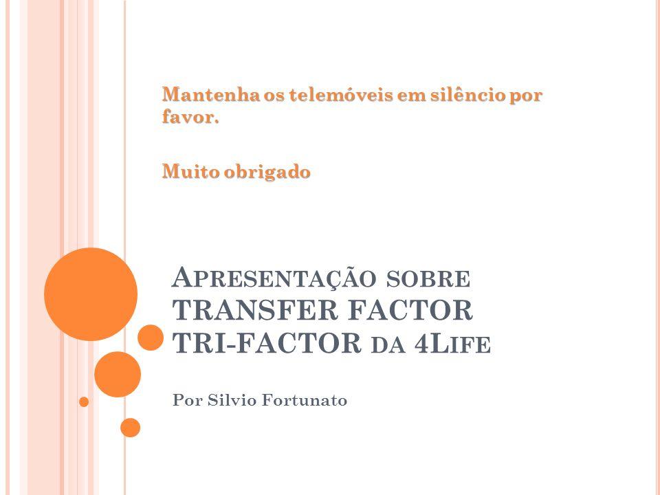 A PRESENTAÇÃO SOBRE TRANSFER FACTOR TRI-FACTOR DA 4L IFE Por Silvio Fortunato Mantenha os telemóveis em silêncio por favor. Muito obrigado
