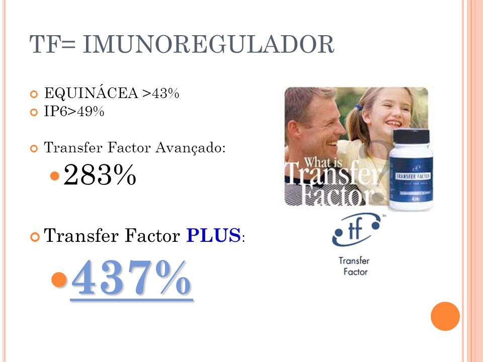TF= IMUNOREGULADOR EQUINÁCEA >43% IP6>49% Transfer Factor Avançado: 283% Transfer Factor PLUS : 437% 437%