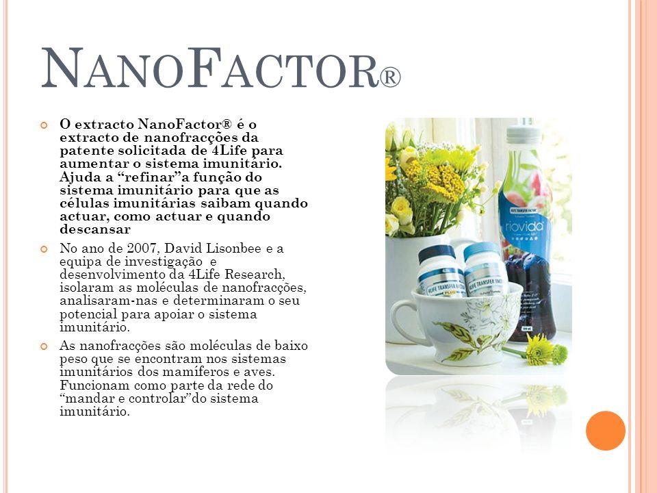 N ANO F ACTOR ® O extracto NanoFactor® é o extracto de nanofracções da patente solicitada de 4Life para aumentar o sistema imunitário. Ajuda a refinar