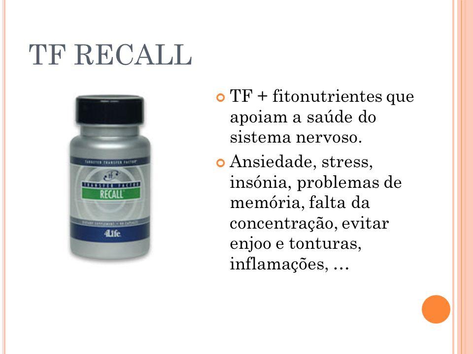 TF RECALL TF + fitonutrientes que apoiam a saúde do sistema nervoso. Ansiedade, stress, insónia, problemas de memória, falta da concentração, evitar e