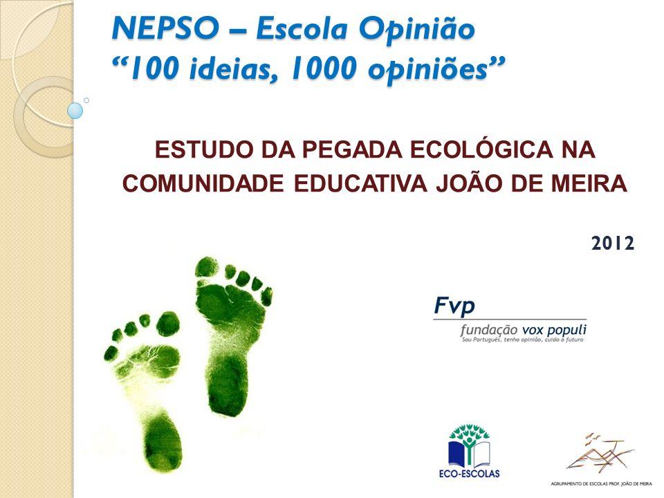 NEPSO – Escola Opinião 100 ideias, 1000 opiniões ESTUDO DA PEGADA ECOLÓGICA NA COMUNIDADE EDUCATIVA JOÃO DE MEIRA 2012