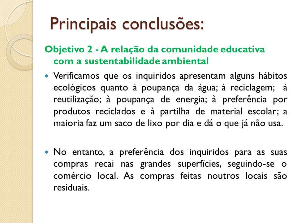 Principais conclusões: Objetivo 2 - A relação da comunidade educativa com a sustentabilidade ambiental Verificamos que os inquiridos apresentam alguns