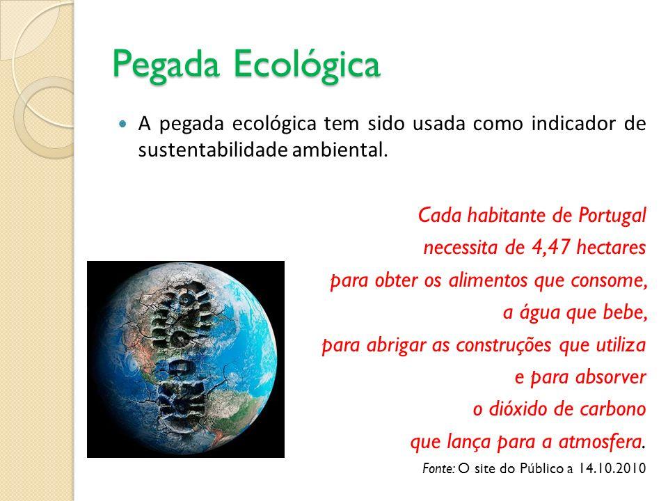 Pegada Ecológica A pegada ecológica tem sido usada como indicador de sustentabilidade ambiental. Cada habitante de Portugal necessita de 4,47 hectares