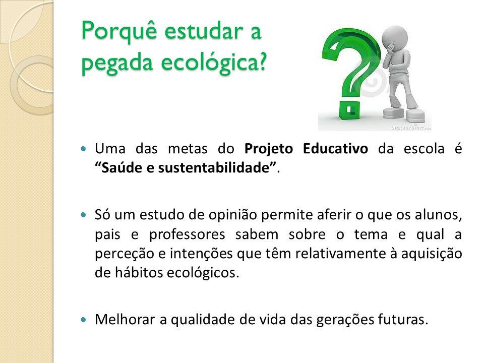 Porquê estudar a pegada ecológica? Uma das metas do Projeto Educativo da escola é Saúde e sustentabilidade. Só um estudo de opinião permite aferir o q