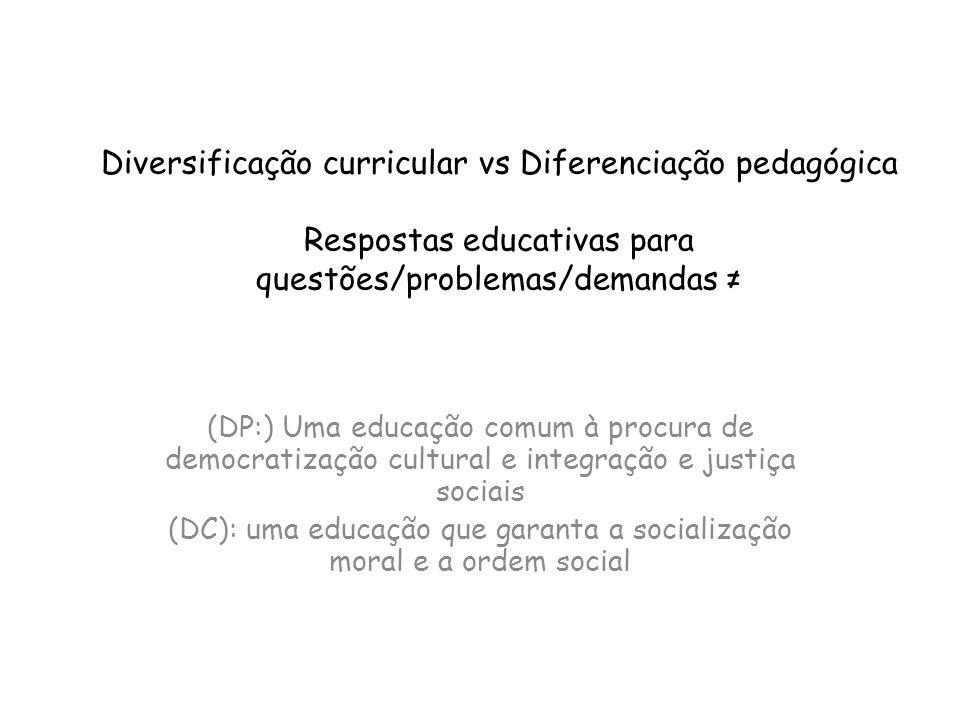 Diversificação curricular vs Diferenciação pedagógica Respostas educativas para questões/problemas/demandas (DP:) Uma educação comum à procura de demo