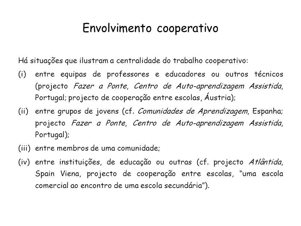 Envolvimento cooperativo Há situações que ilustram a centralidade do trabalho cooperativo: (i)entre equipas de professores e educadores ou outros técn