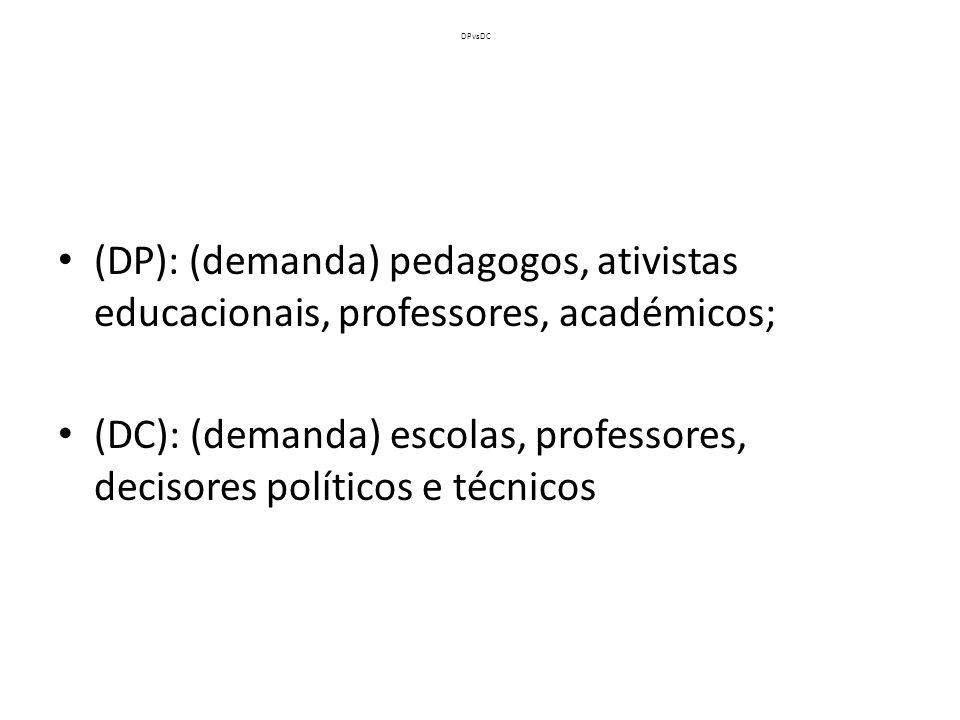 DPvsDC (DP): (demanda) pedagogos, ativistas educacionais, professores, académicos; (DC): (demanda) escolas, professores, decisores políticos e técnico