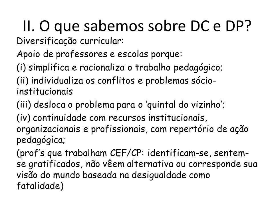II. O que sabemos sobre DC e DP? Diversificação curricular: Apoio de professores e escolas porque: (i) simplifica e racionaliza o trabalho pedagógico;