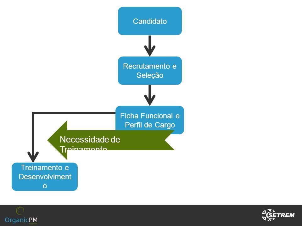 Candidato Recrutamento e Seleção Ficha Funcional e Perfil de Cargo Treinamento e Desenvolviment o Necessidade de Treinamento