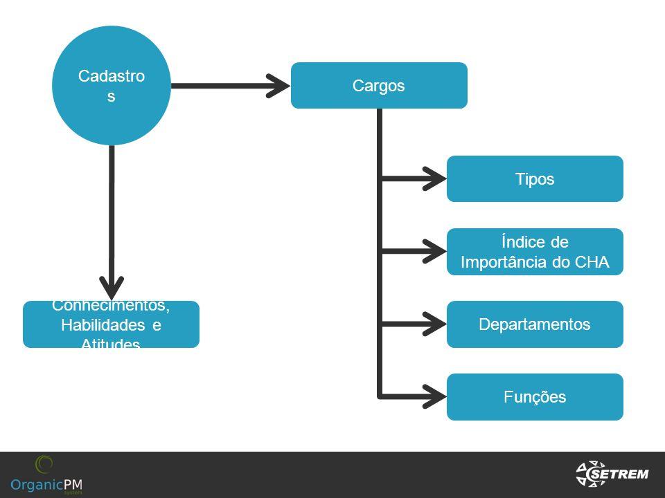 Cadastro s Cargos Tipos Funções Departamentos Conhecimentos, Habilidades e Atitudes Índice de Importância do CHA