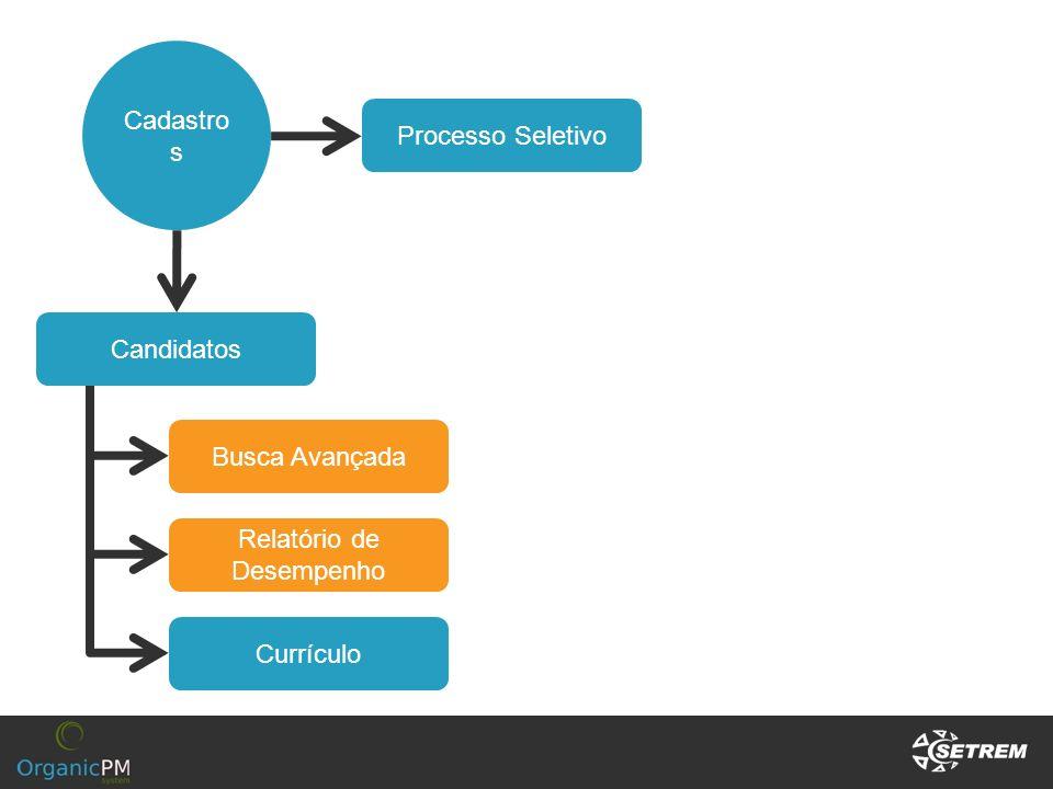 Cadastro s Processo Seletivo Candidatos Currículo Relatório de Desempenho Busca Avançada