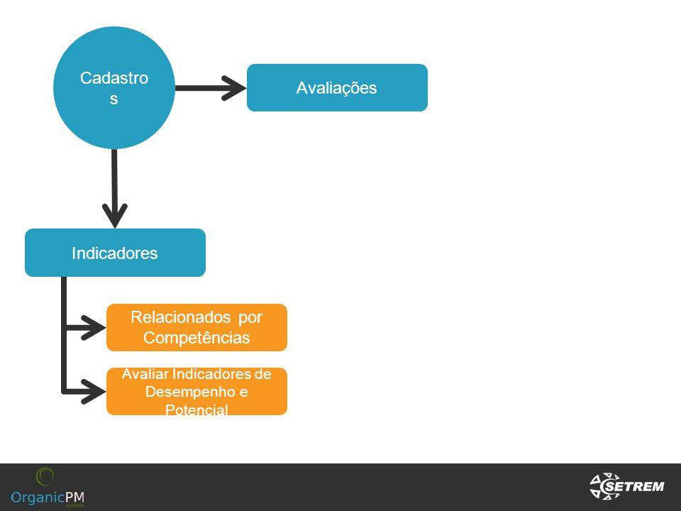 Cadastro s Indicadores Relacionados por Competências Avaliações Avaliar Indicadores de Desempenho e Potencial