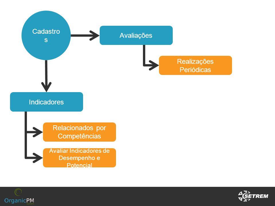 Cadastro s Indicadores Relacionados por Competências Avaliações Realizações Periódicas Avaliar Indicadores de Desempenho e Potencial