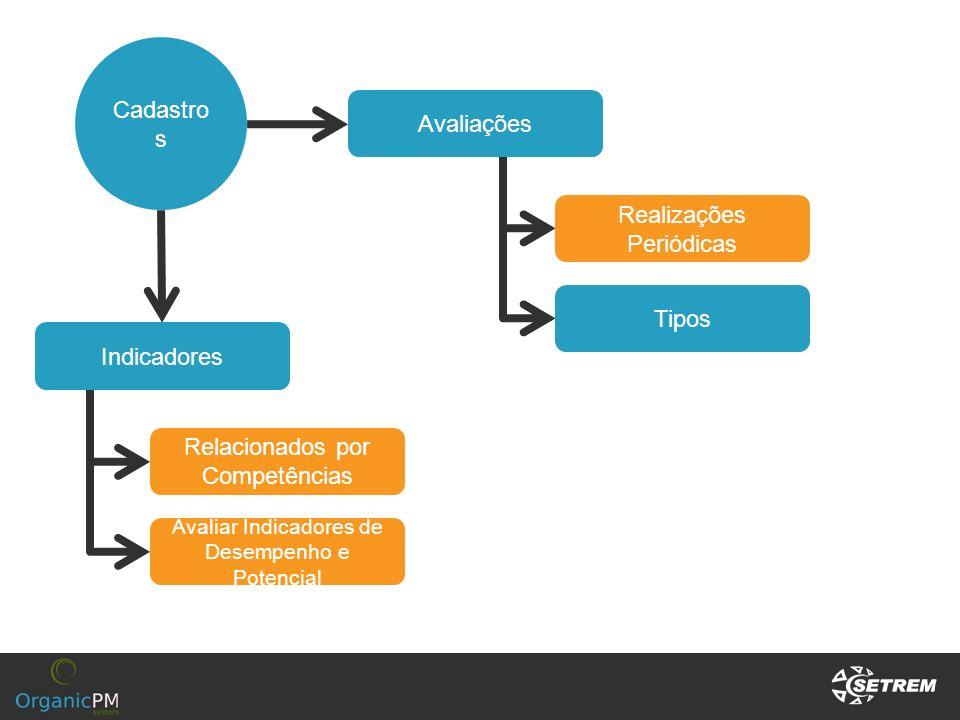 Cadastro s Indicadores Relacionados por Competências Avaliações Tipos Realizações Periódicas Avaliar Indicadores de Desempenho e Potencial