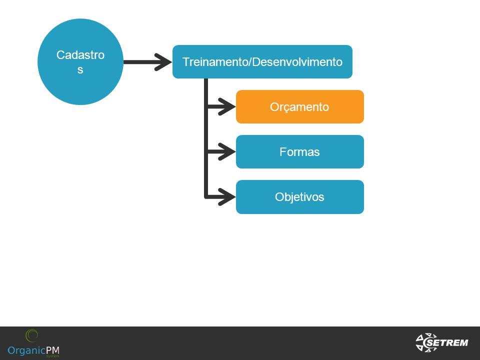 Cadastro s Treinamento/Desenvolvimento Orçamento Formas Objetivos