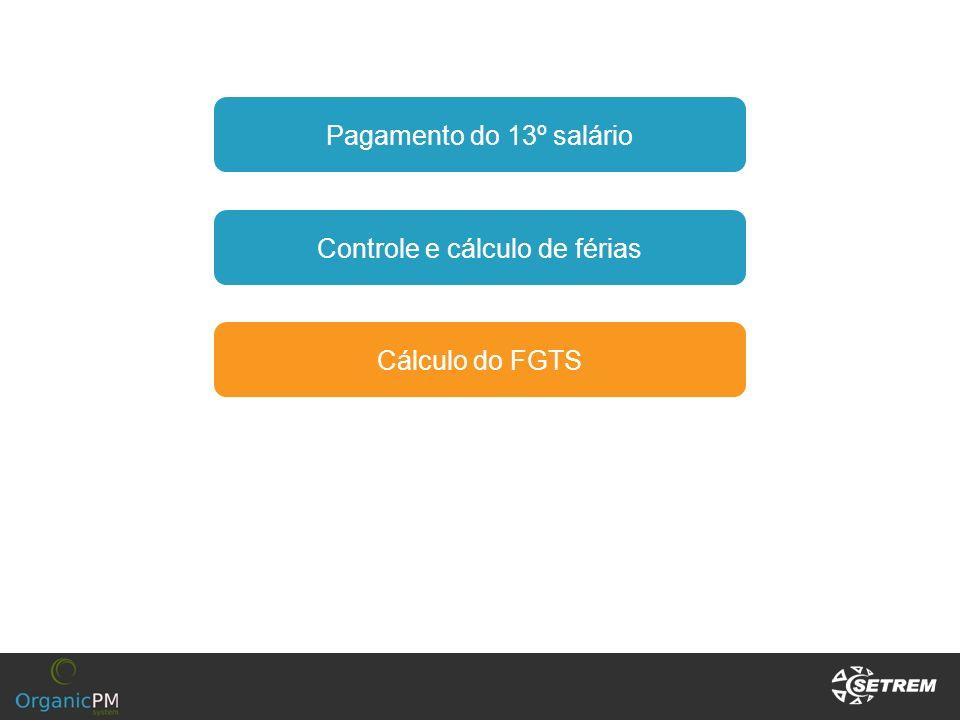 Pagamento do 13º salário Controle e cálculo de férias Cálculo do FGTS