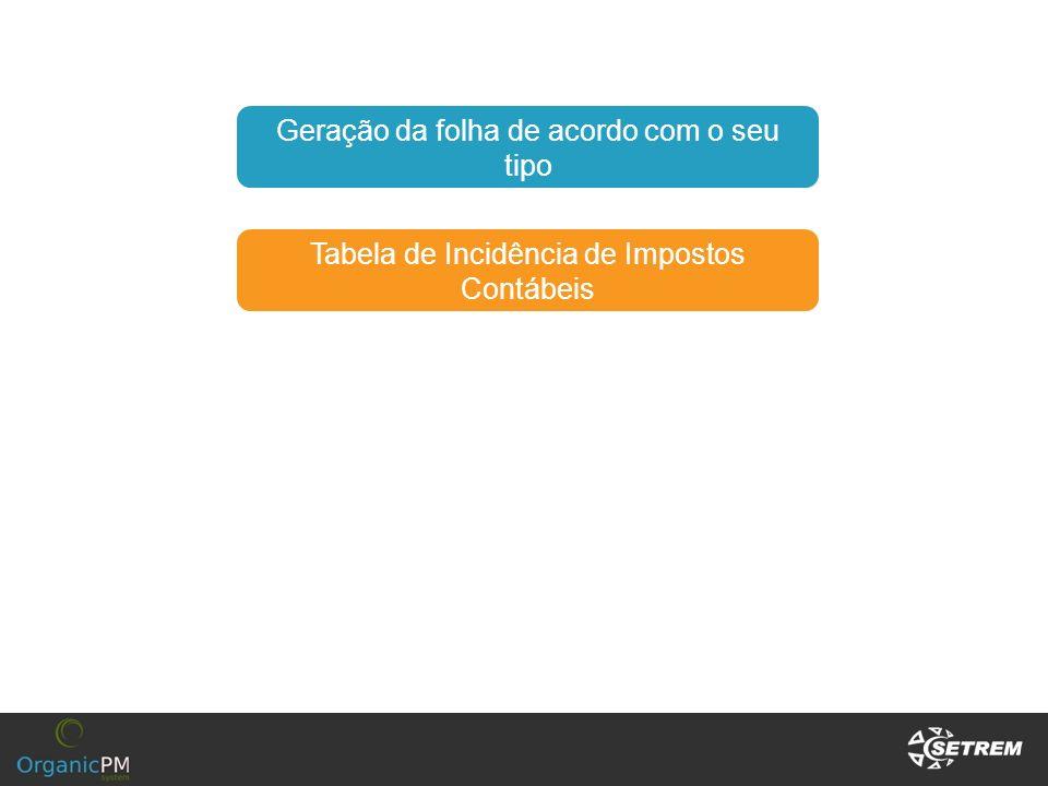 Tabela de Incidência de Impostos Contábeis Geração da folha de acordo com o seu tipo