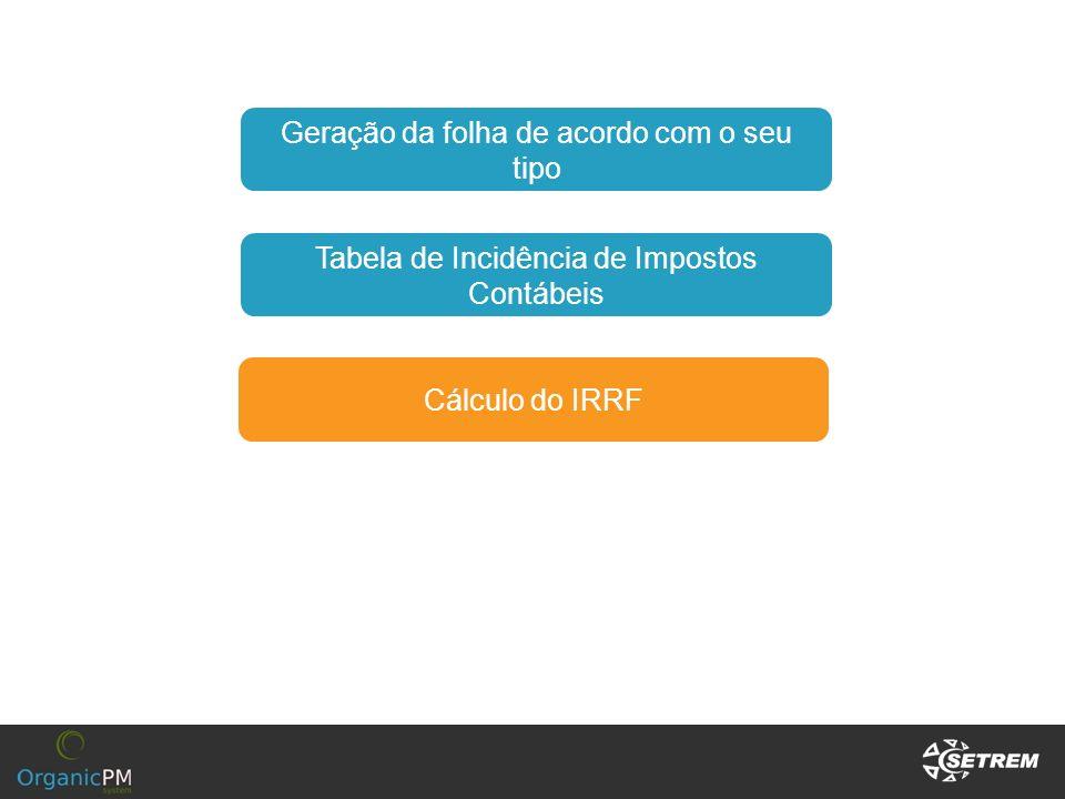 Cálculo do IRRF Tabela de Incidência de Impostos Contábeis Geração da folha de acordo com o seu tipo