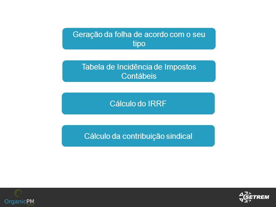Cálculo do IRRF Cálculo da contribuição sindical Tabela de Incidência de Impostos Contábeis Geração da folha de acordo com o seu tipo