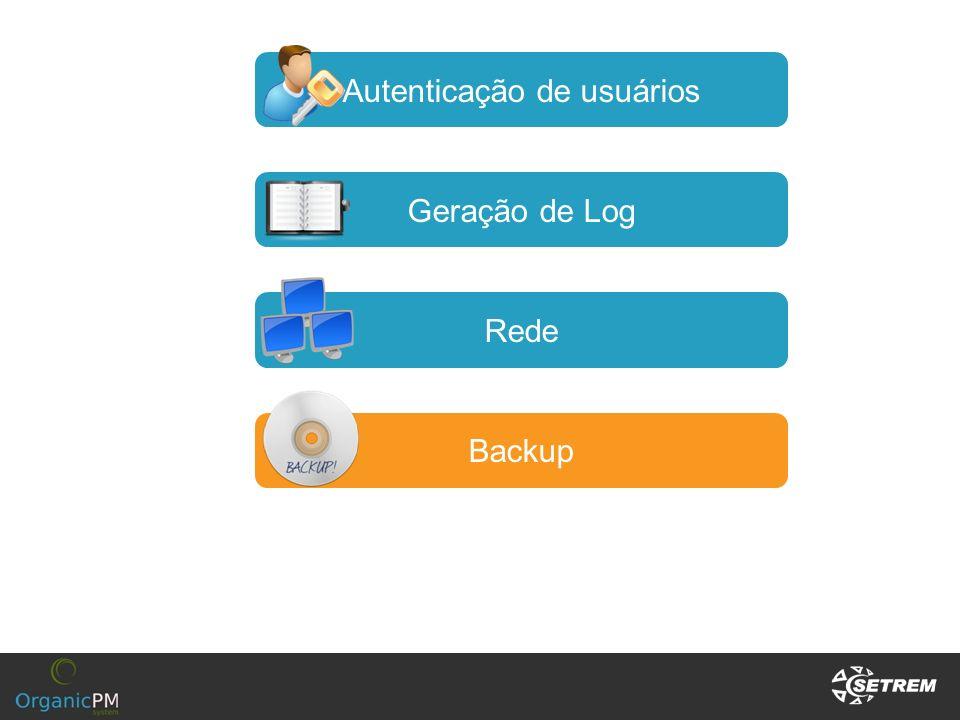 Autenticação de usuários Geração de Log Rede Backup