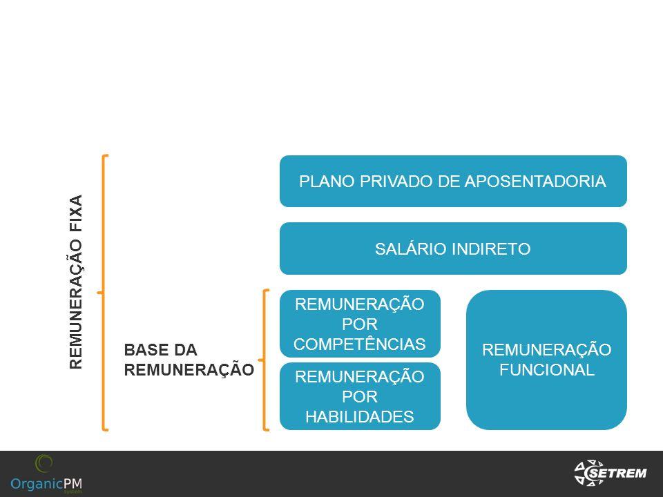 PLANO PRIVADO DE APOSENTADORIA SALÁRIO INDIRETO REMUNERAÇÃO POR COMPETÊNCIAS REMUNERAÇÃO FUNCIONAL REMUNERAÇÃO POR HABILIDADES BASE DA REMUNERAÇÃO REM
