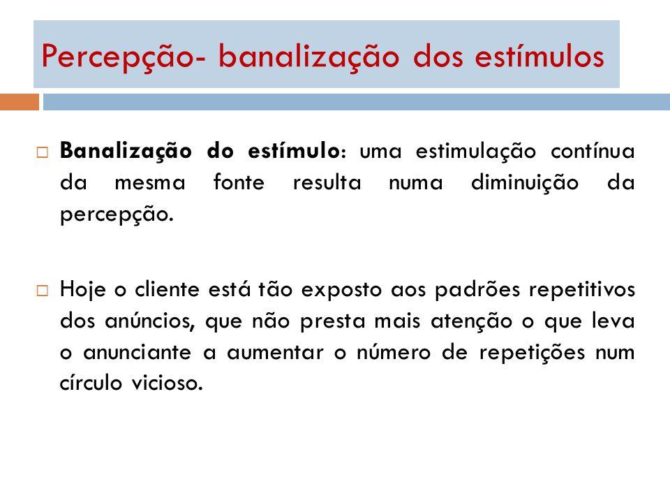 Percepção- banalização dos estímulos Banalização do estímulo: uma estimulação contínua da mesma fonte resulta numa diminuição da percepção. Hoje o cli