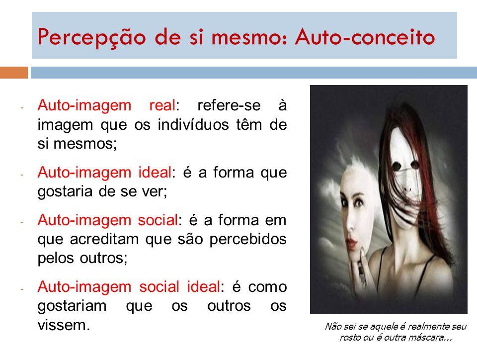 - Auto-imagem real: refere-se à imagem que os indivíduos têm de si mesmos; - Auto-imagem ideal: é a forma que gostaria de se ver; - Auto-imagem social