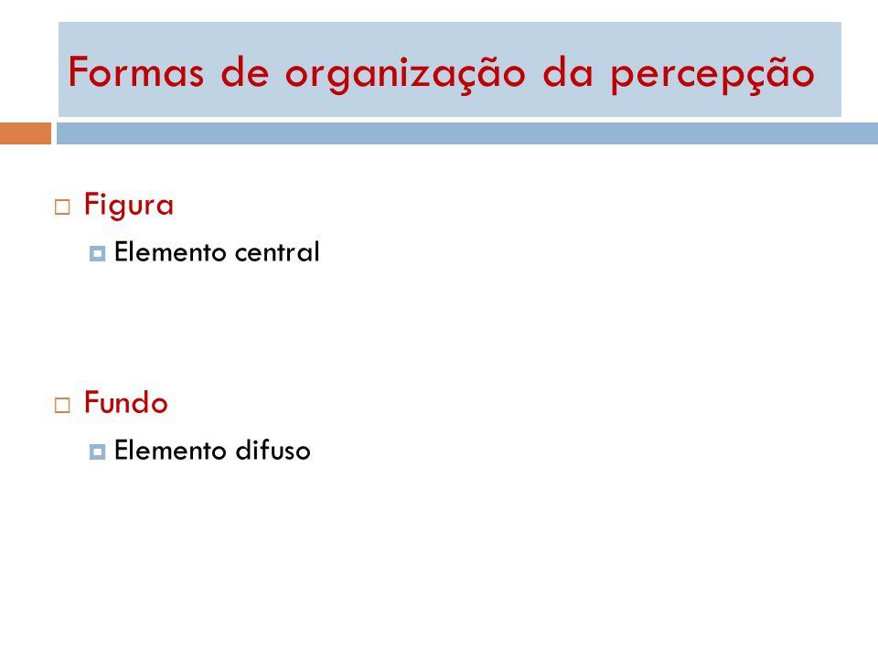 Formas de organização da percepção Figura Elemento central Fundo Elemento difuso