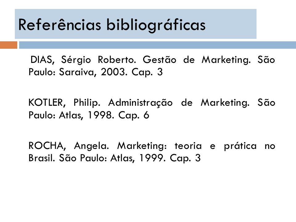 Referências bibliográficas DIAS, Sérgio Roberto. Gestão de Marketing. São Paulo: Saraiva, 2003. Cap. 3 KOTLER, Philip. Administração de Marketing. São