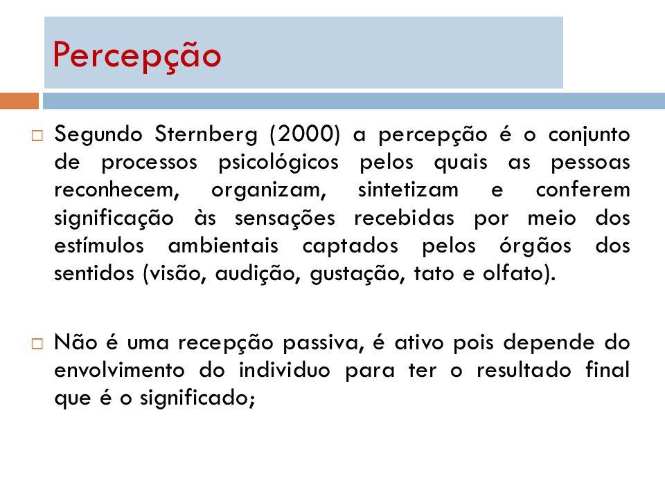 Segundo Sternberg (2000) a percepção é o conjunto de processos psicológicos pelos quais as pessoas reconhecem, organizam, sintetizam e conferem signif