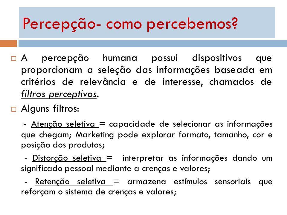 A percepção humana possui dispositivos que proporcionam a seleção das informações baseada em critérios de relevância e de interesse, chamados de filtr