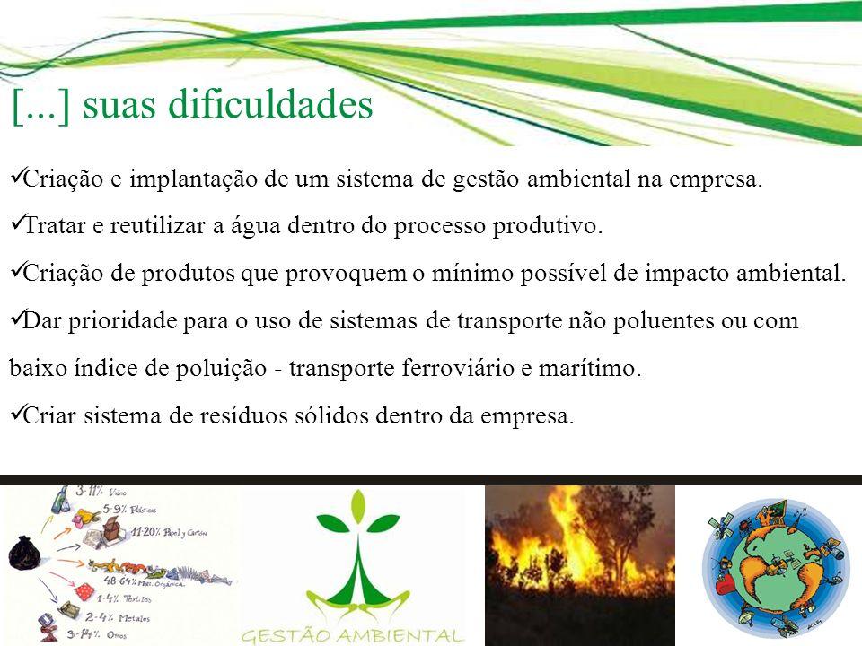 Criação e implantação de um sistema de gestão ambiental na empresa. Tratar e reutilizar a água dentro do processo produtivo. Criação de produtos que p