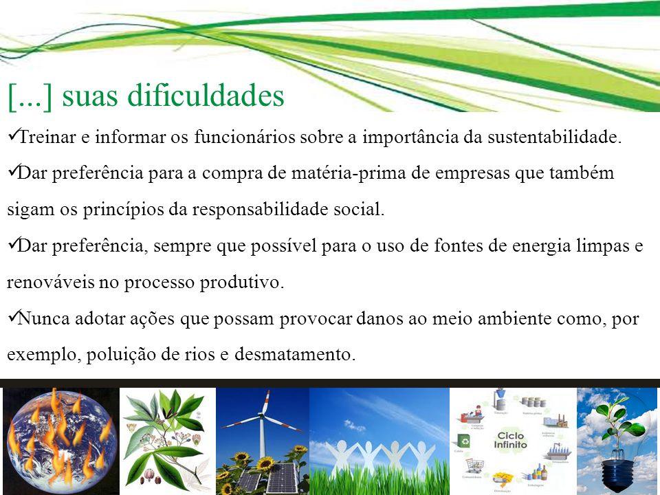 Treinar e informar os funcionários sobre a importância da sustentabilidade. Dar preferência para a compra de matéria-prima de empresas que também siga
