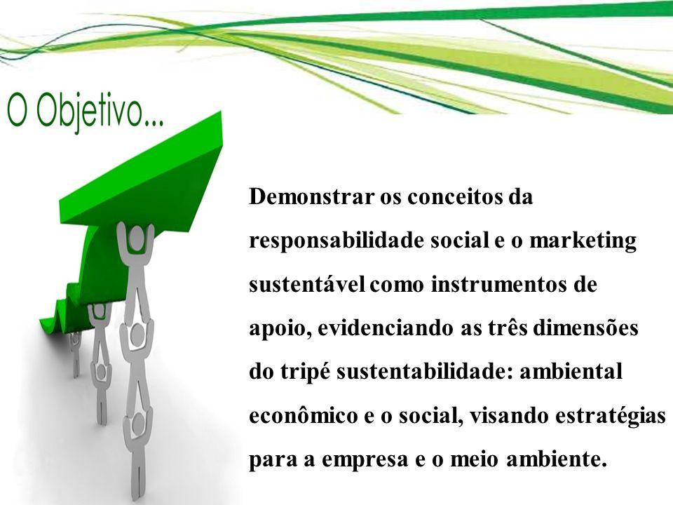 Demonstrar os conceitos da responsabilidade social e o marketing sustentável como instrumentos de apoio, evidenciando as três dimensões do tripé suste