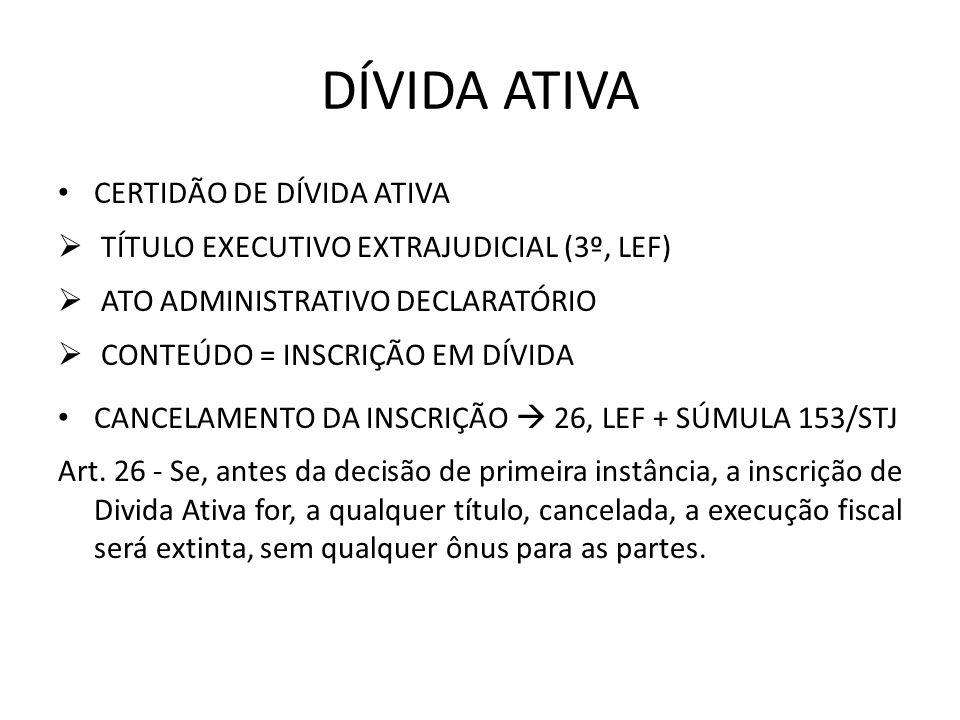 DÍVIDA ATIVA CERTIDÃO DE DÍVIDA ATIVA TÍTULO EXECUTIVO EXTRAJUDICIAL (3º, LEF) ATO ADMINISTRATIVO DECLARATÓRIO CONTEÚDO = INSCRIÇÃO EM DÍVIDA CANCELAM
