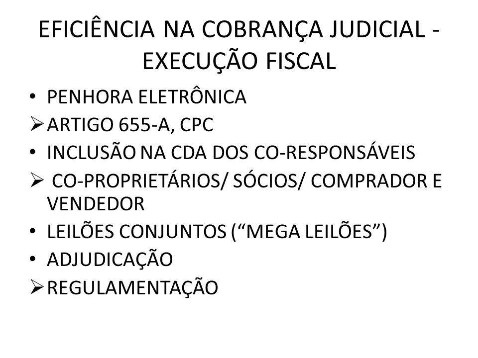 EFICIÊNCIA NA COBRANÇA JUDICIAL - EXECUÇÃO FISCAL PENHORA ELETRÔNICA ARTIGO 655-A, CPC INCLUSÃO NA CDA DOS CO-RESPONSÁVEIS CO-PROPRIETÁRIOS/ SÓCIOS/ C