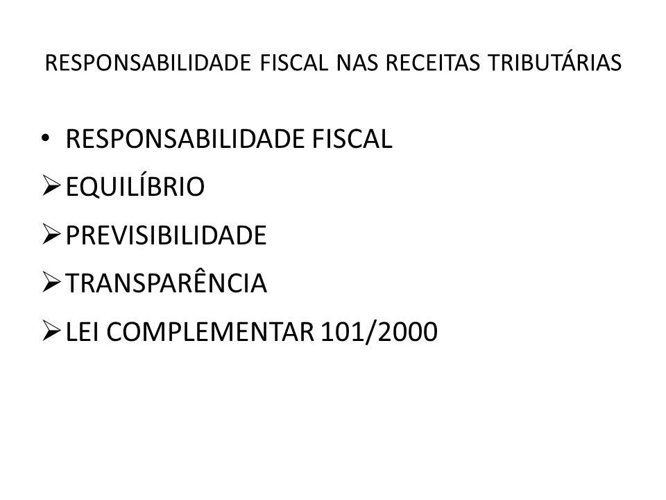 RESPONSABILIDADE FISCAL NAS RECEITAS TRIBUTÁRIAS RESPONSABILIDADE FISCAL EQUILÍBRIO PREVISIBILIDADE TRANSPARÊNCIA LEI COMPLEMENTAR 101/2000