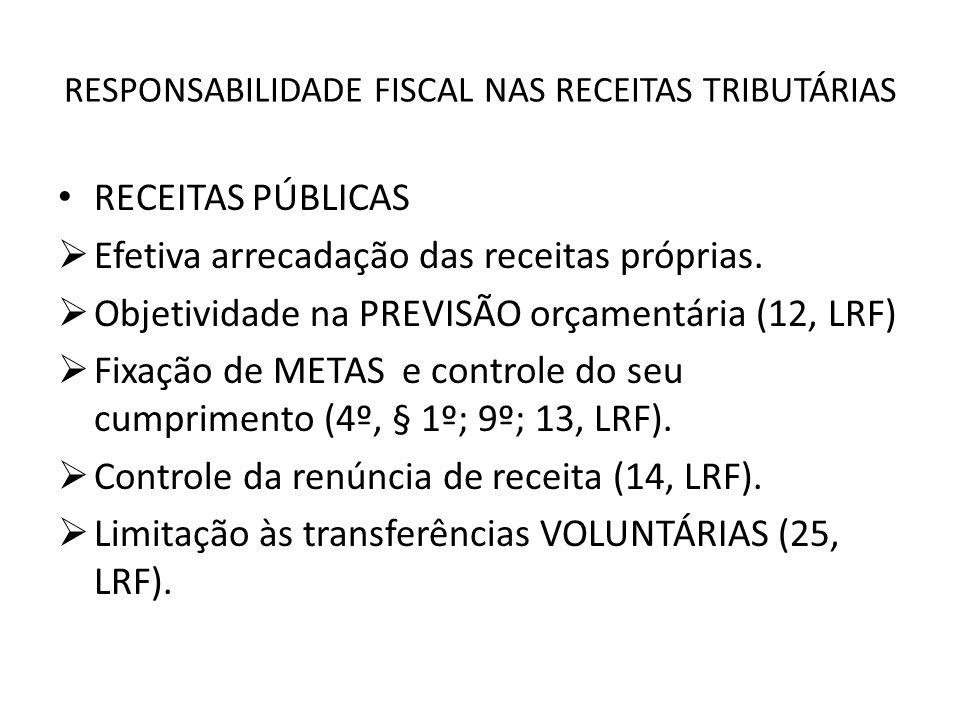 RESPONSABILIDADE FISCAL NAS RECEITAS TRIBUTÁRIAS RECEITAS PÚBLICAS Efetiva arrecadação das receitas próprias. Objetividade na PREVISÃO orçamentária (1