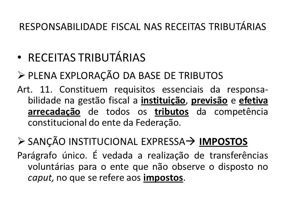RESPONSABILIDADE FISCAL NAS RECEITAS TRIBUTÁRIAS RECEITAS TRIBUTÁRIAS PLENA EXPLORAÇÃO DA BASE DE TRIBUTOS Art. 11. Constituem requisitos essenciais d