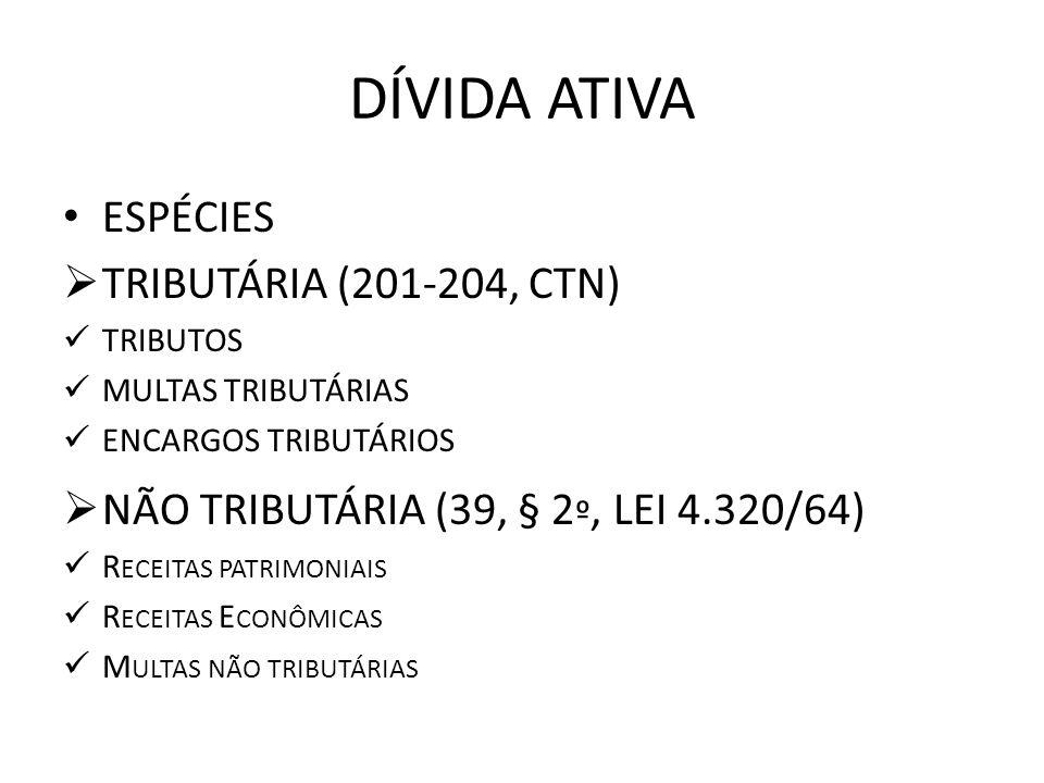 DÍVIDA ATIVA ESPÉCIES TRIBUTÁRIA (201-204, CTN) TRIBUTOS MULTAS TRIBUTÁRIAS ENCARGOS TRIBUTÁRIOS NÃO TRIBUTÁRIA (39, § 2 º, LEI 4.320/64) R ECEITAS PA