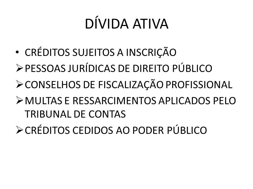 DÍVIDA ATIVA CRÉDITOS SUJEITOS A INSCRIÇÃO PESSOAS JURÍDICAS DE DIREITO PÚBLICO CONSELHOS DE FISCALIZAÇÃO PROFISSIONAL MULTAS E RESSARCIMENTOS APLICAD