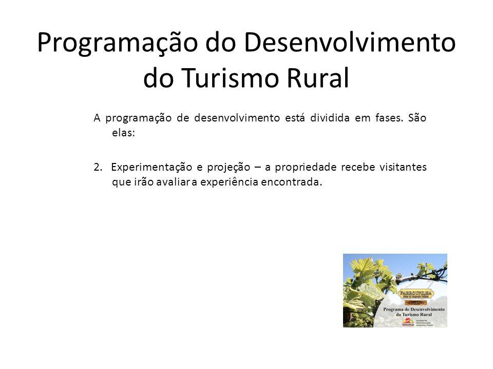 Programação do Desenvolvimento do Turismo Rural A programação de desenvolvimento está dividida em fases. São elas: 2. Experimentação e projeção – a pr