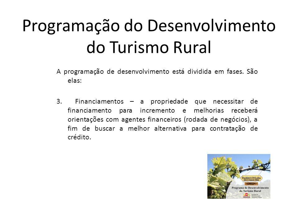Programação do Desenvolvimento do Turismo Rural A programação de desenvolvimento está dividida em fases. São elas: 3. Financiamentos – a propriedade q