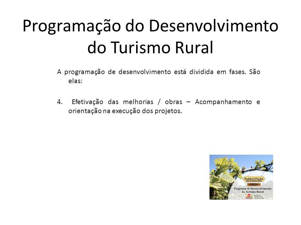 Programação do Desenvolvimento do Turismo Rural A programação de desenvolvimento está dividida em fases. São elas: 4. Efetivação das melhorias / obras
