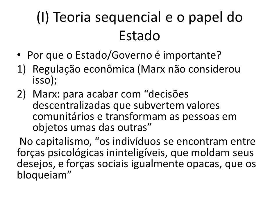 (I) Teoria sequencial e o papel do Estado Por que o Estado/Governo é importante? 1)Regulação econômica (Marx não considerou isso); 2)Marx: para acabar