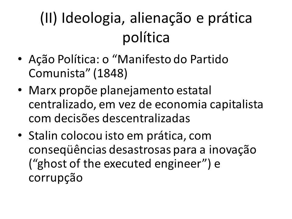 (II) Ideologia, alienação e prática política Ação Política: o Manifesto do Partido Comunista (1848) Marx propõe planejamento estatal centralizado, em